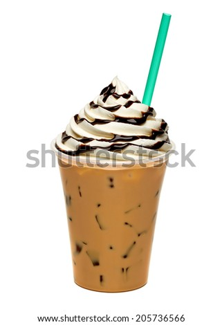 Iced coffee with cream and sauce in take away cup isolated on white background  - stock photo