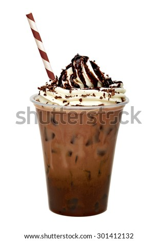 Iced coffee with sauced cream topping in to go cup with straw isolated on white background including clipping path - stock photo