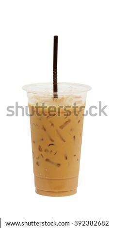 Iced coffee with straw in plastic cup isolated on white background / coffee sweet - stock photo