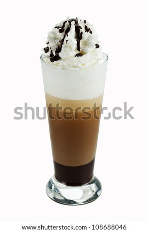 Iced coffee with whipped cream isolated on white background - stock photo