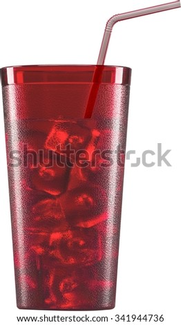 iced cold beverage in a red textured glass container with a bendable straw