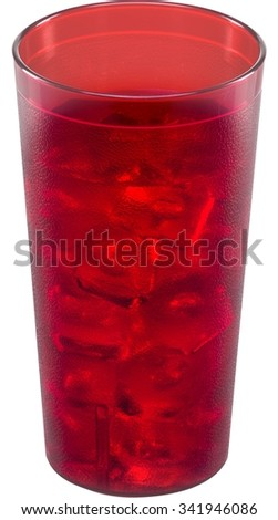 Iced cold water in a red textured glass