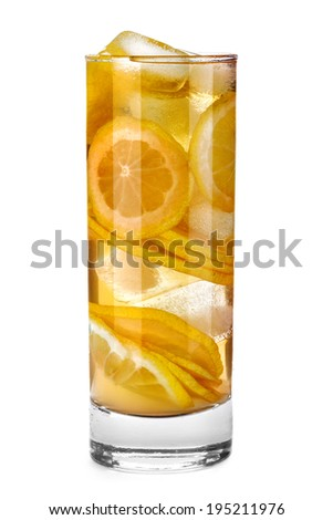 iced drink with orange and mint isolated on white background - stock photo