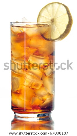 iced tea isolated on white - stock photo