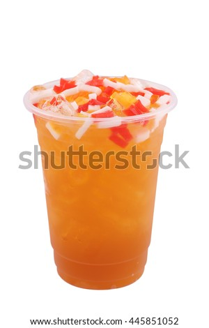 Iced tea with Fruit jelly in a glass isolated on white background - stock photo