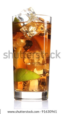 Iced tea with lemon and lime isolated on white - stock photo