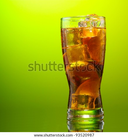 Iced tea with lemon and lime on green background