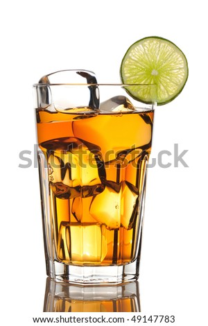 Iced tea with lime isolated on white - stock photo