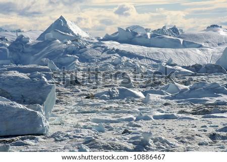 Icefjord near Ilulissat, West Greenland - stock photo