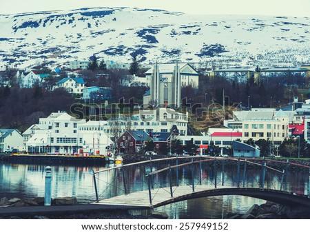 Iceland background Akureyri city bridge  - stock photo