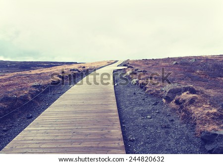 Iceland background road winding - stock photo