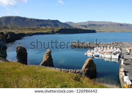 Iceland coast in Arnarstapi, Snafellsnes peninsula. Faxafloi bay - harbor view. - stock photo