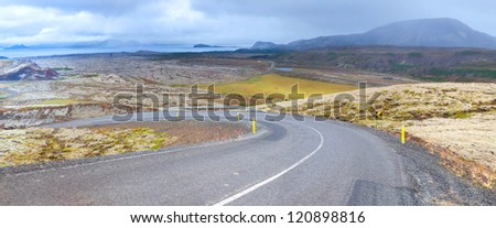 Iceland - famous Ring Road (Hringvegur). Straight asphalt highway. Panorama - stock photo