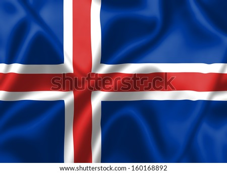 Iceland flag blowing in the wind. Background texture.