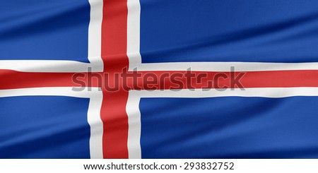 Iceland Flag. Flag with a beautiful glossy silk texture.