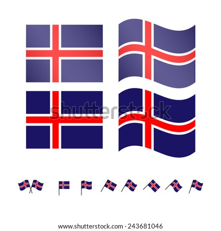 Iceland Flags - stock photo
