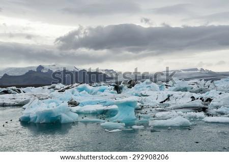Iceland glacial lagoon Jokulsarlon - stock photo