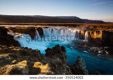 Iceland, Godafoss at sunset - stock photo