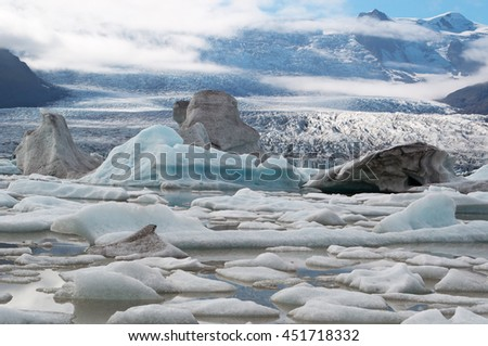 Iceland: icebergs in the Fjallsarlon glacier lagoon on August 19, 2012. Fjallsarlon is a glacier lake at the south end of the glacier Vatnajokull and it's part of the Vatnajokull National Park
