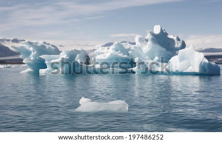 Iceland landscape in the southeast area. Jokulsarlon. Icebergs and lake.