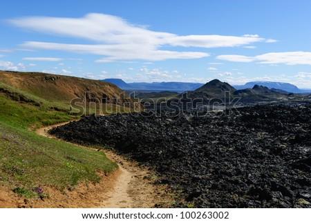 iceland lava field of krafla volcano - stock photo