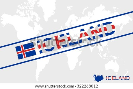 Iceland map flag and text illustration, on world map, Rasterized Copy