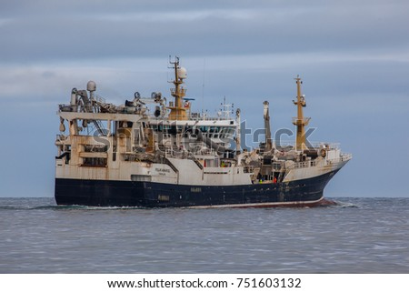 Iceland - March 9, 2017 : Pelagic fishing vessel Polar Amaroq with home port in Greenland in Icelandic waters.