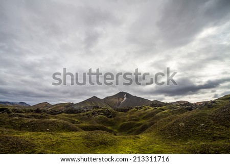 iceland mountain with cloudy sky - near by hekla volcano