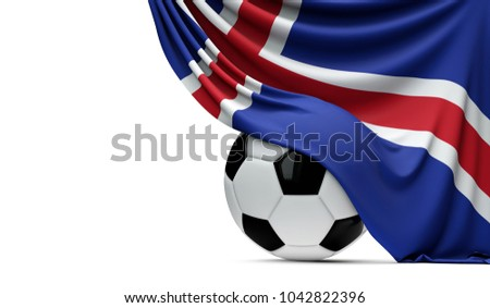Iceland national flag draped over a soccer football ball. 3D Rendering