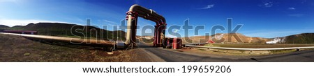 Iceland's geothermal power plant station in the Krafla volcanic region - stock photo