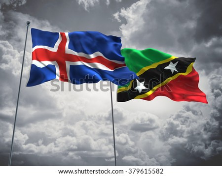 Iceland & Saint Kitts and Nevis Flags are waving in the sky with dark clouds
