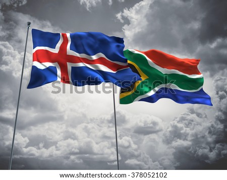 Iceland & South Africa Flags are waving in the sky with dark clouds