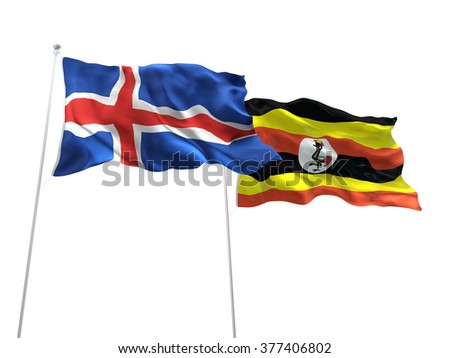 Iceland & Uganda Flags are waving on the isolated white background - stock photo
