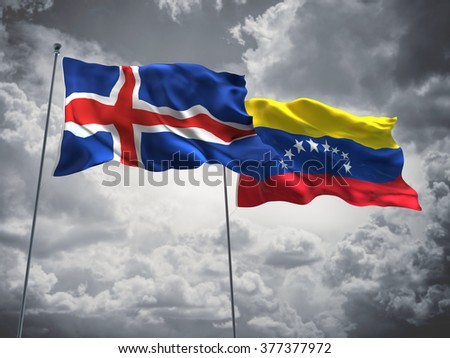 Iceland & Venezuela Flags are waving in the sky with dark clouds