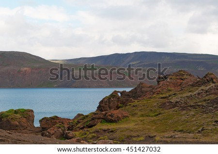 Iceland: view of Kleifarvatn lake on August 17, 2012. Kleifarvatn is the largest lake on the Reykjanes Peninsula, located on the fissure zone of the Mid Atlantic Ridge
