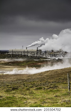 Icelandic geothermal power station built in a lava field - stock photo