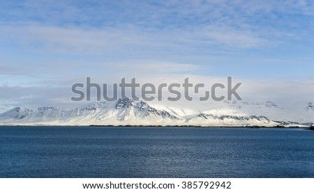 Icelandic harbor mountain in a sunny day