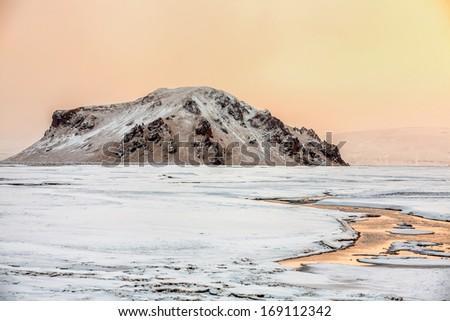 Icelandic landscape in wintertime in a beautiful sunlight - stock photo