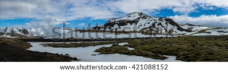 Icelandic Landscape panoramic Arctic winter scene - stock photo