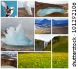 Icelandic landscapes collage - stock photo