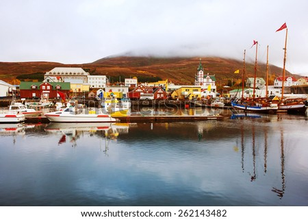Icelandic Seaport in Husavik, Iceland. - stock photo