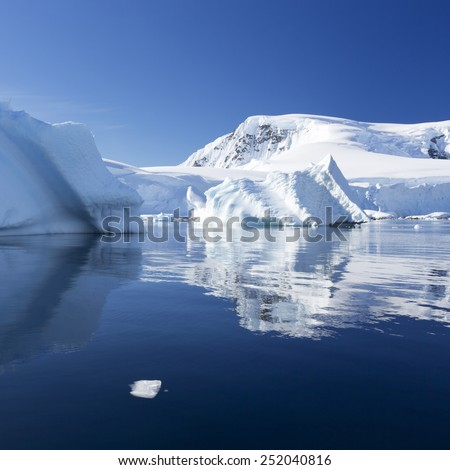 Ices and icebergs of Antarctica. - stock photo