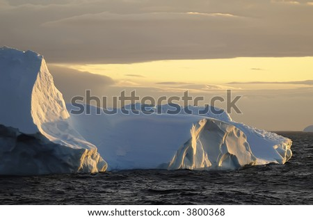 Icescape at sunset - stock photo