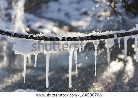 icicles in winter - stock photo