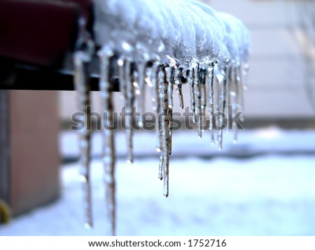 icicles - winter & frost - stock photo