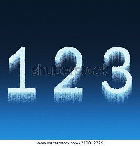 Icing alphabet digit number 1 2 3 one, two, three isolated on blue background - stock photo