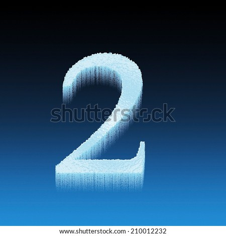 Icing alphabet digit number 2 two isolated on blue background - stock photo