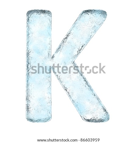 Icing alphabet the letter K (High definition isolated on white) - stock photo