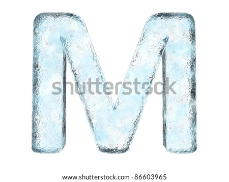 Icing alphabet the letter M (High definition isolated on white) - stock photo
