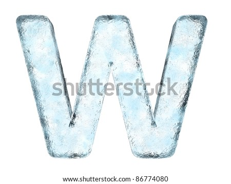 Icing alphabet the letter W (High definition isolated on white) - stock photo